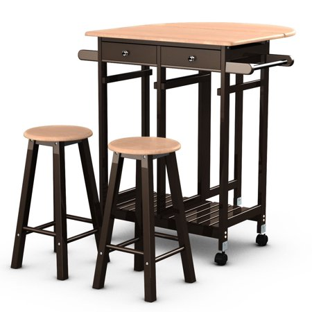 Enclosed Drop Leaf Cart - Costway 3PC Wood Kitchen Island Rolling Cart Set Dinning Drop Leaf Table w/ 2 Stools