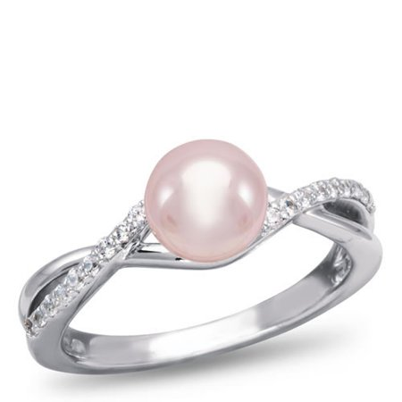 2ff425dcc Samuels Jewelers Factory Direct - OrianO, 10K White Gold and Diamond Accent  Freshwater Cultured Pearl Ring - Walmart.com