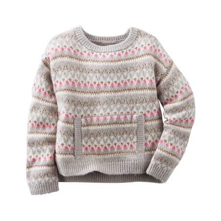 OshKosh B'gosh Baby Girls' Drop-Shoulder Fair Isle Sweater, 9 Months (Isle Sweater)
