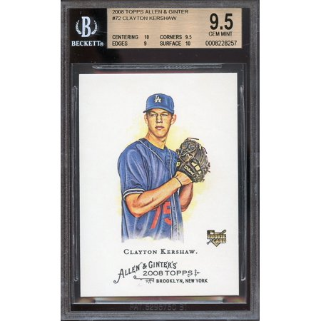 2008 topps allen and ginter #72 CLAYTON KERSHAW rookie BGS 9.5 (10 9.5 9 10)