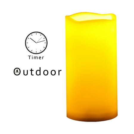 Outdoor Indoor Flameless LED Battery Operated Pillar Candles with Timer 3