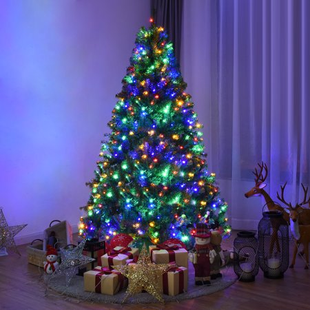Costway 6Ft Pre-Lit Artificial Christmas Tree Hinged 350 LED Lights ()