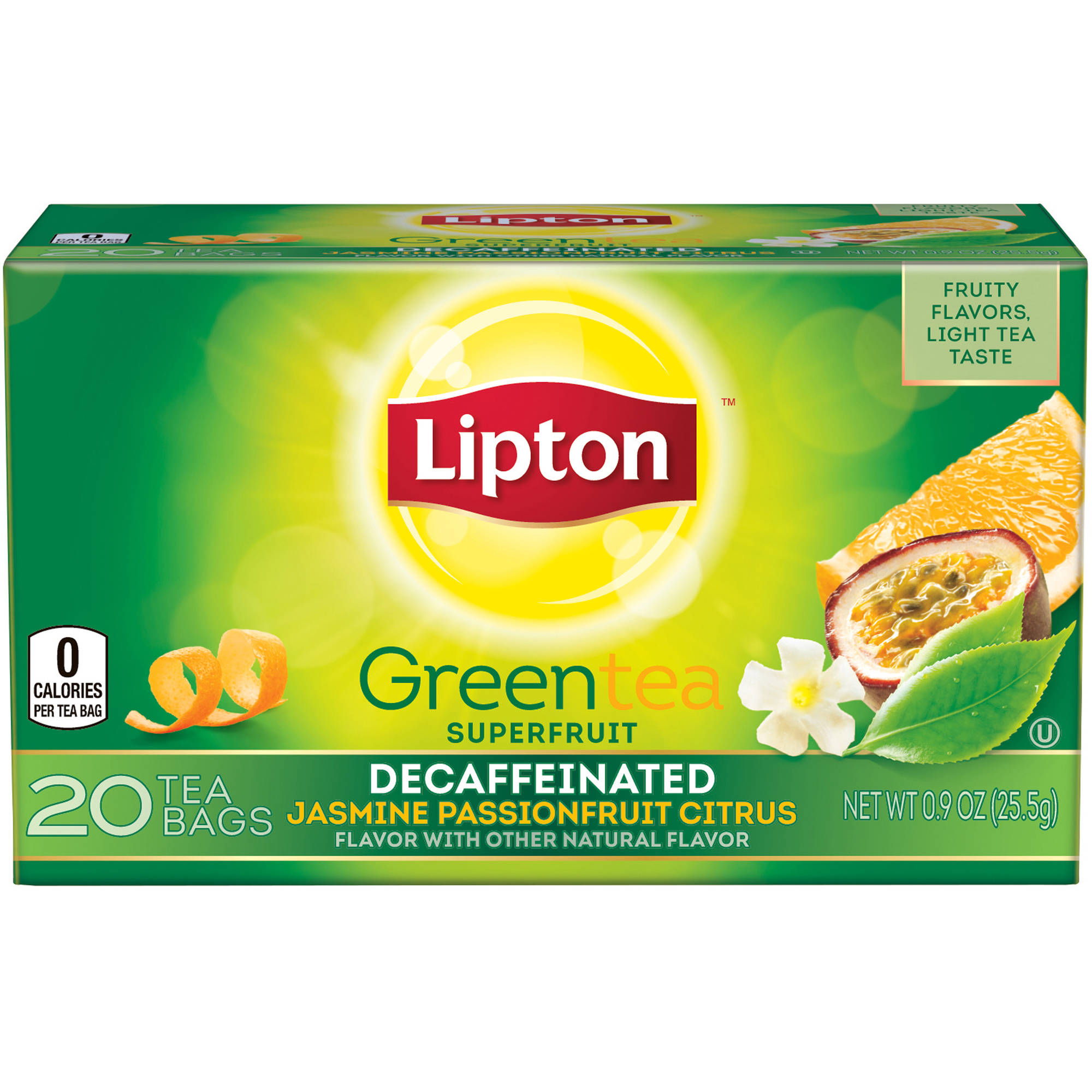 Lipton Decaffeinated Jasmine Passionfruit with Citrus Green Tea Bags, 20 ct