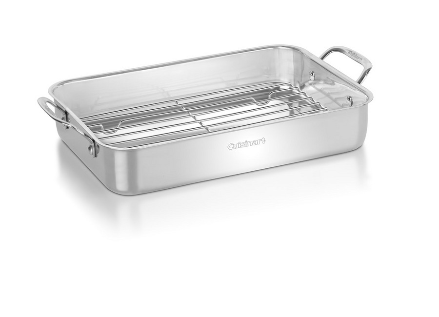 "Cuisinart Chef'S Classic Stainless Steel 14"" Lasagna Pan W  Stainless Roasting Rack by Conair"