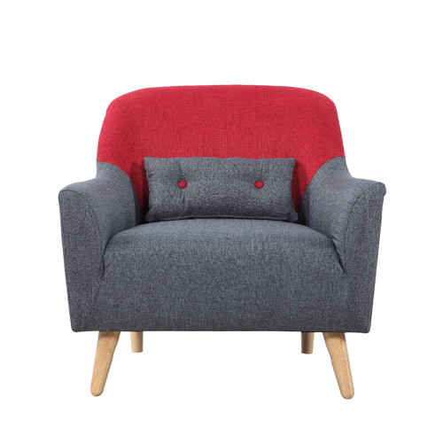 Madison Home USA Mid Century Modern Style Two Tone Linen Fabric Armchair by