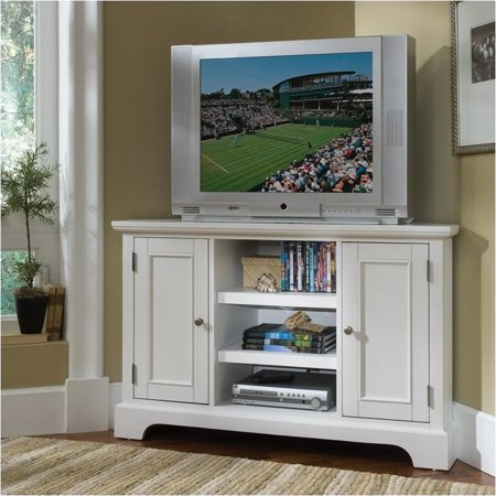 Bowery Hill 50″ Corner TV Stand in White