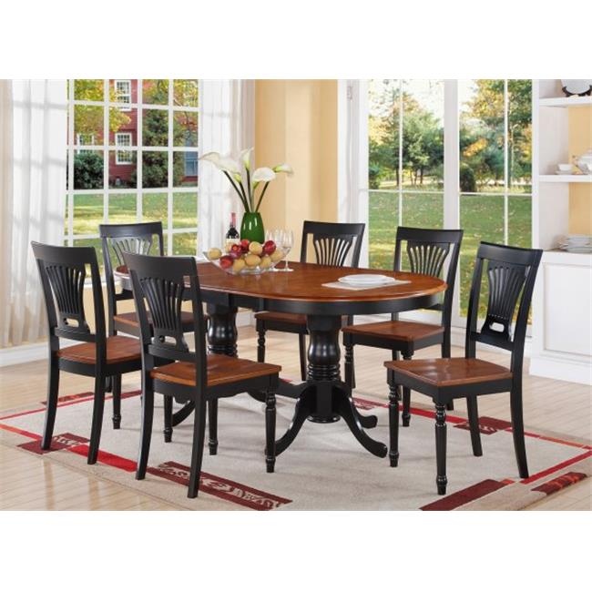 East West Furniture PLAI7-BLK-W 7-Piece Plainville Table with Double Pedestal & 6 Wood Seat Chairs in Black & Cherry