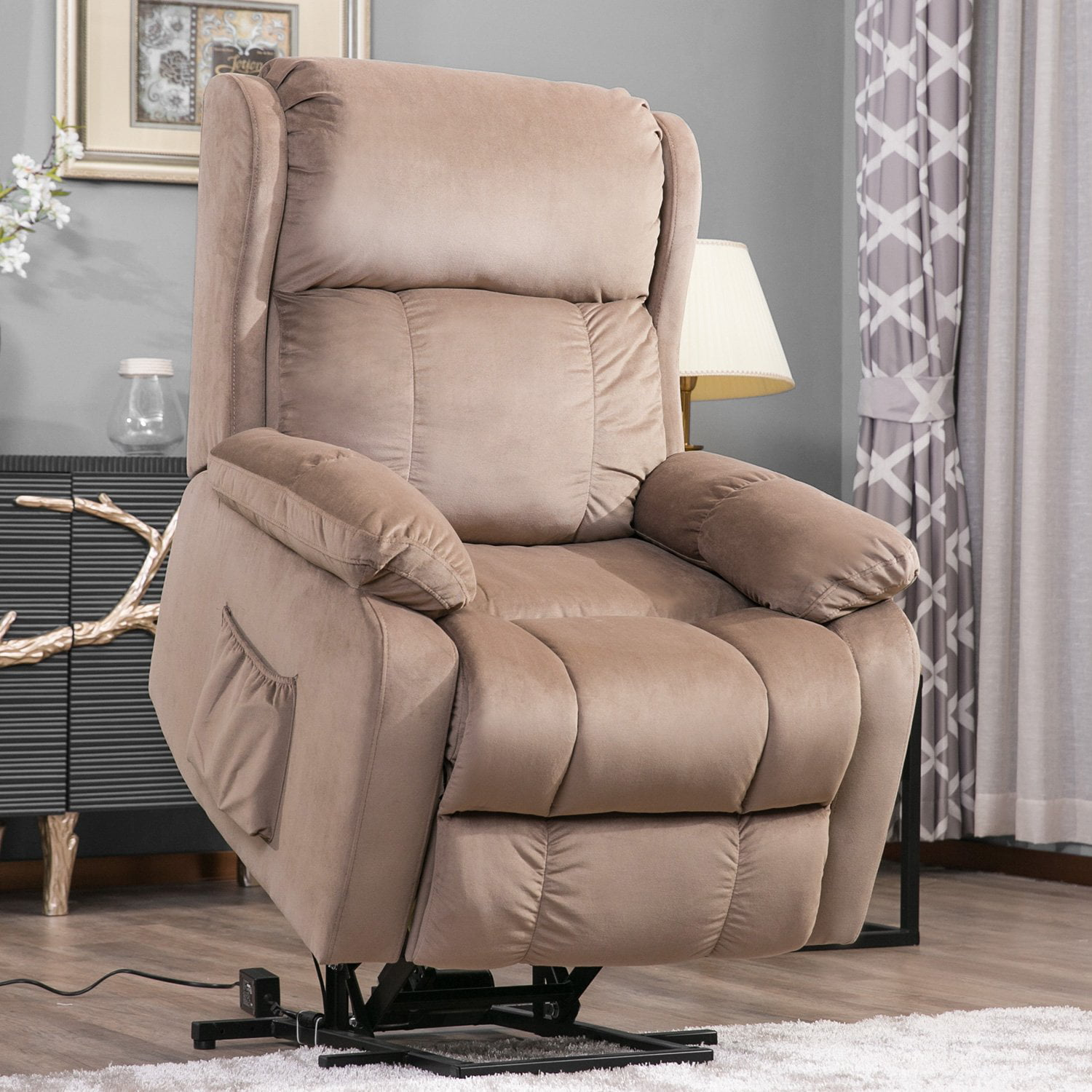 Lift Chairs for Elderly, Upholstered Fabric Power Lift Recliner Chair with Remote Control, Heavy Duty Electric Lift Chair Recliners Sofa Lounge Chair