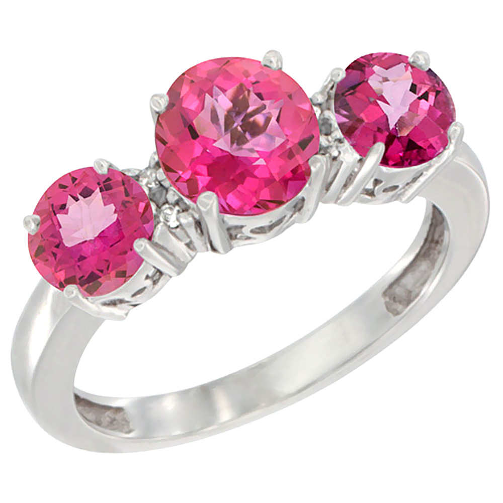 10K White Gold Round 3-Stone Natural Pink Topaz Ring Diamond Accent ...