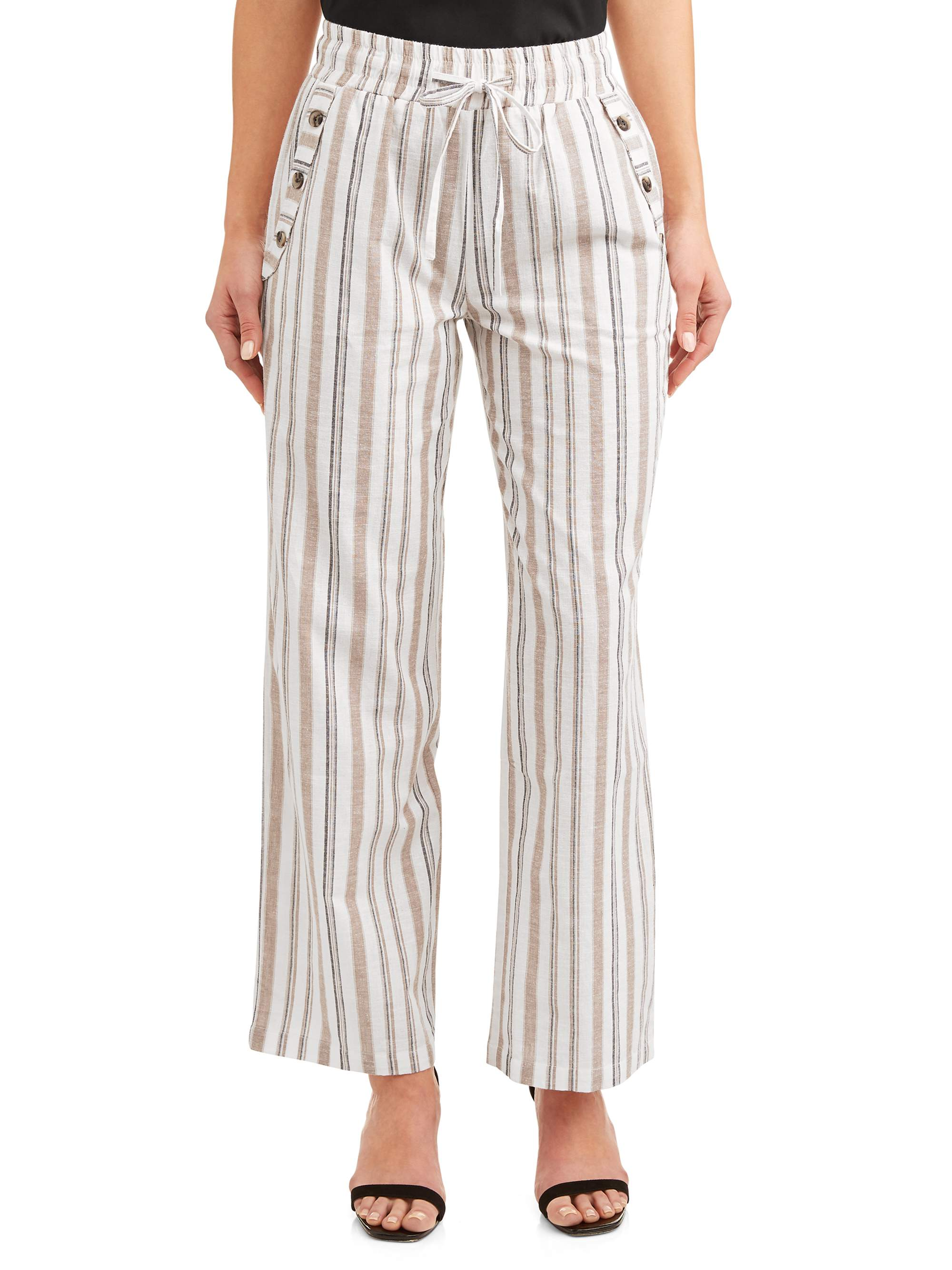 Juniors' Stripe Drawstring Cropped Linen Wide Leg Pants