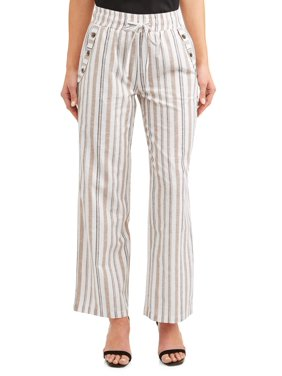 fefe2238e2ee2 Product Image Juniors' Stripe Drawstring Cropped Linen Wide Leg Pants.  Product TitleDerek HeartJuniors' ...