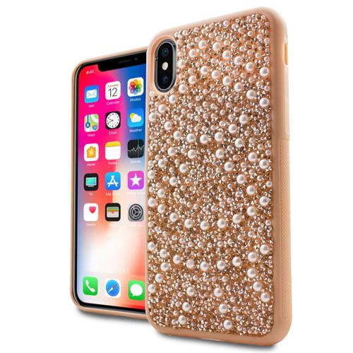 MUNDAZE Rose Gold Luxury Pearls Diamond Case For Apple iPhone X Phone