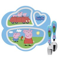 Zak Designs Peppa Pig Kids Dinnerware Set Includes Melamine 3-Section Divided Plate and Utensil Tableware, Made of Durable Material and Perfect for Kids Peppa Pig 3 Piece Set BPA-Free