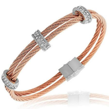 Fashion Alloy Silver-Tone Rose Gold-Tone White CZ Twisted Cable Bangle Bracelet