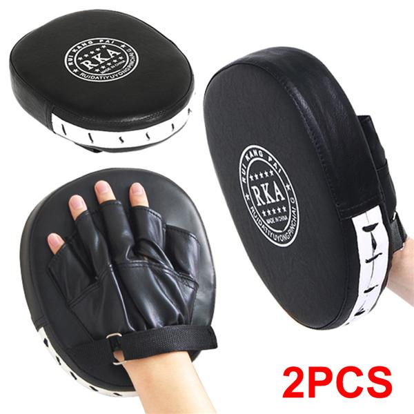 Punch Mitts Boxing Pads Pair PU Cover Focus Pads For Thai Kick Karate Mauy Black