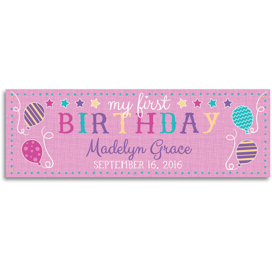 My First Birthday Personalized Banner, Pink or Blue