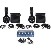 (2) Audio Technica ATH-M50X Studio Monitor Headphones+Presonus HP4 4 Channel Amp