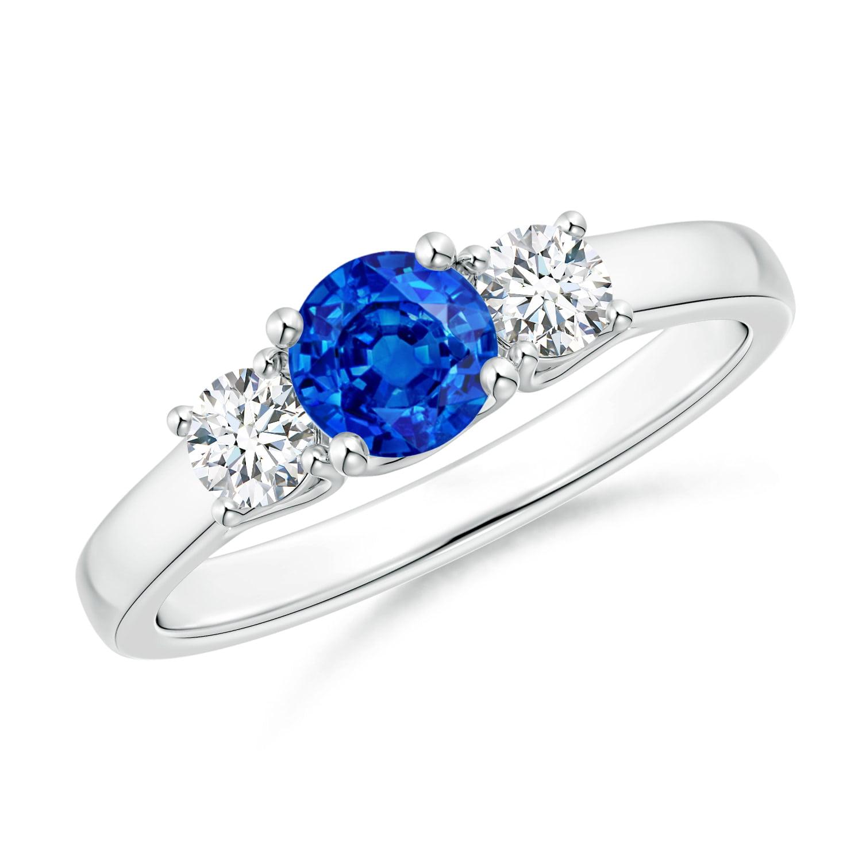 September Birthstone Ring Classic Round Sapphire And Diamond Three