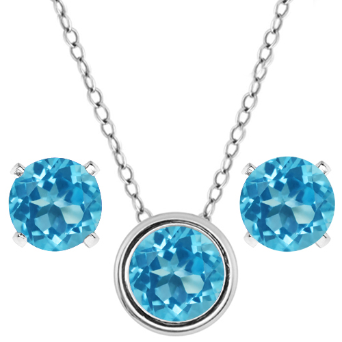 3.00 Ct Round Swiss Blue Topaz 925 Sterling Silver Pendant Earrings Set