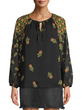 Scoop Peasant Blouse Floral Print Women's
