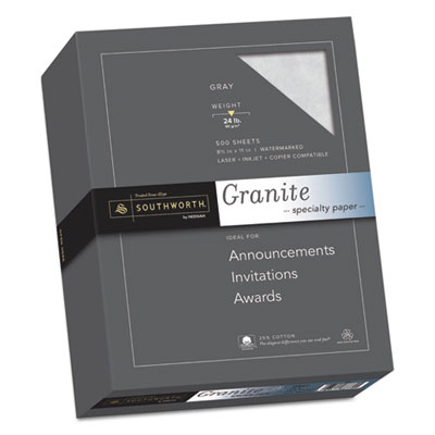 Granite Specialty Paper, Gray, 24lb, 8 1/2 x 11, 25% Cotton, 500 Sheets, Sold as 1 Box