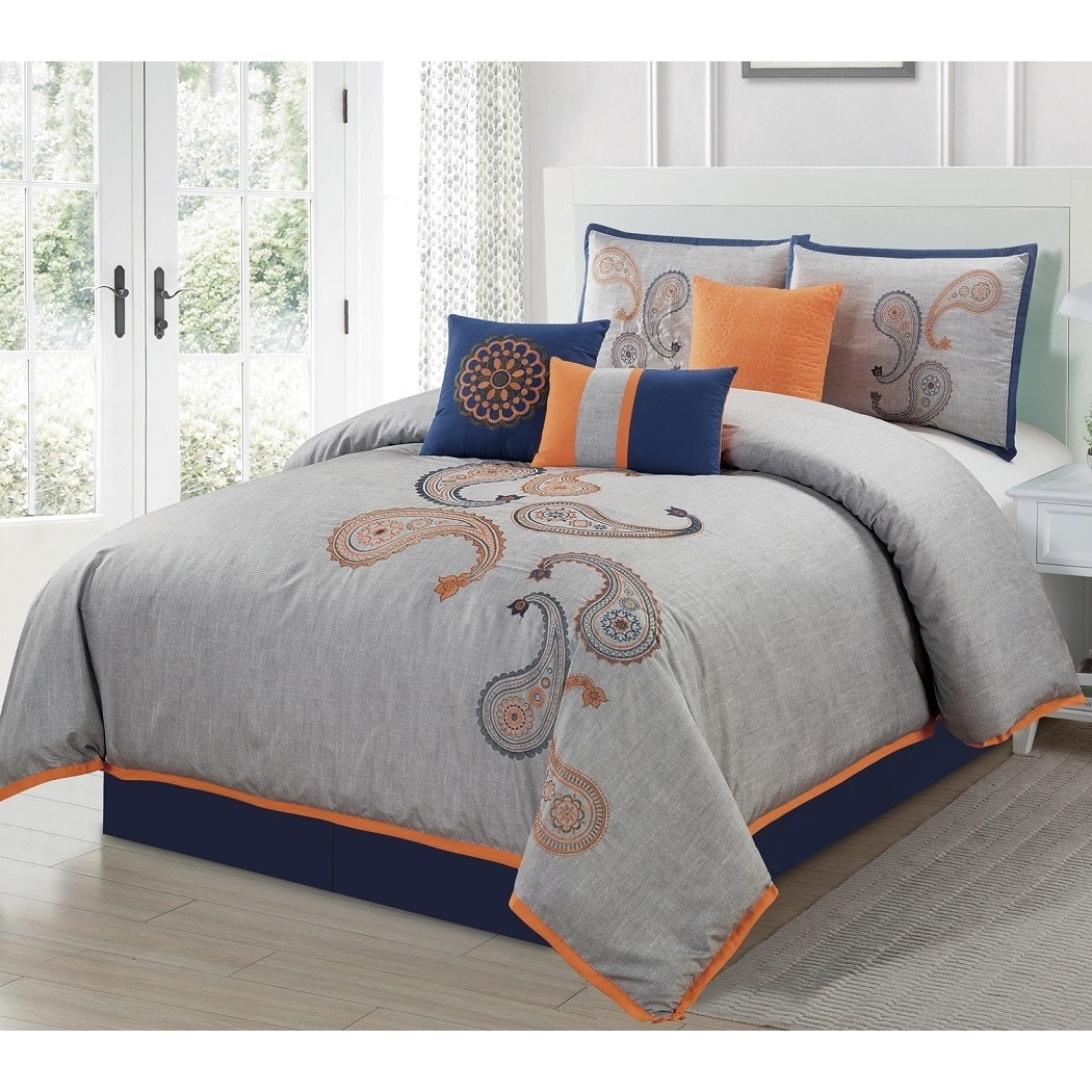 French Impression Naomi Paisley 7 Piece Comforter Set