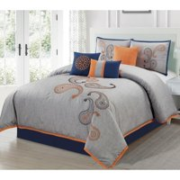 Chezmoi Collection Naomi 7-Piece Paisley Motif Floral Embroidery Comforter Set
