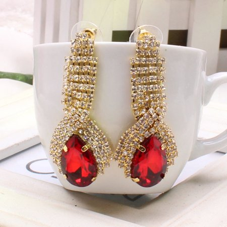 - iLH Women Ladies Luxury Elegant Vintage Rhinestone Big Drop Earrings