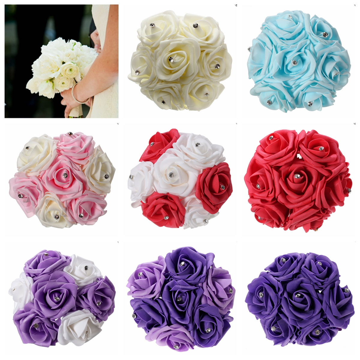 1 Bunch Aartificial Rose Flower Craft Flower Bridal Rhinestone Crystal Bouquet Wedding Party Decor