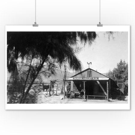 Borego, California - Exterior View of the Post Office and Store (9x12 Art Print, Wall Decor Travel