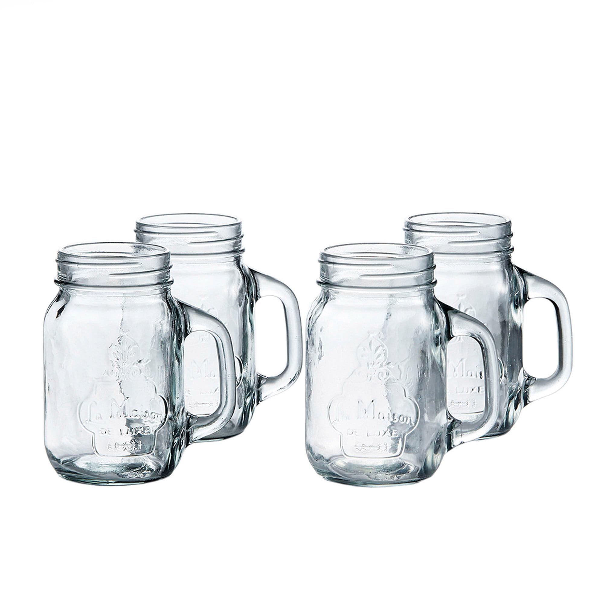 "Style Setter La Maison Set Of 4 Mason Jars, 3.9"" X 3.15"" X 5.3""H, 16 Oz"