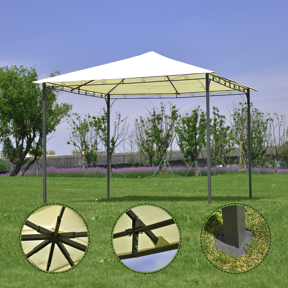 Costway Outdoor 10'x10' Square Gazebo Canopy Tent Shelter Awning Garden Patio beige by Costway