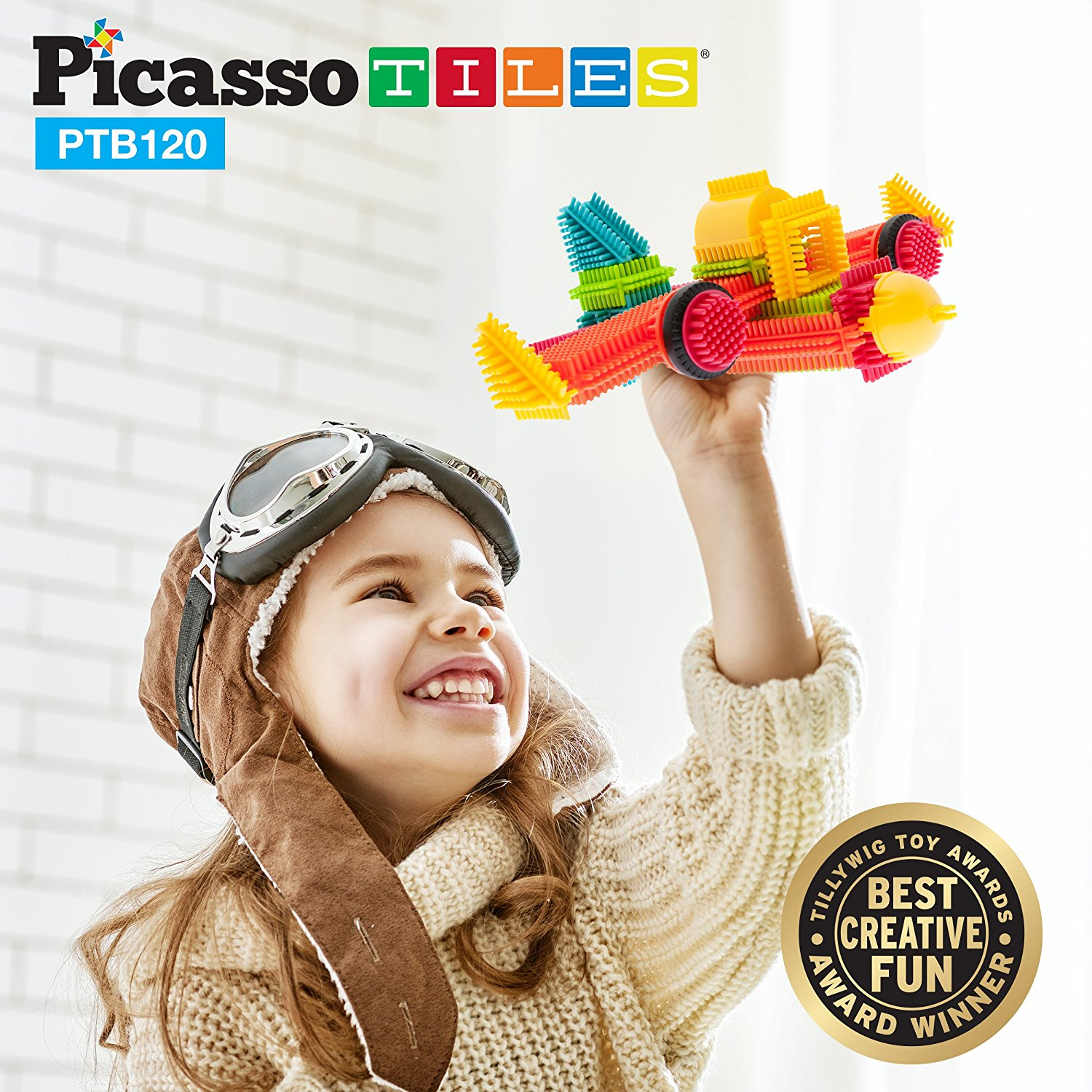 PicassoTiles PTB120 120pcs Bristle Shape 3D Building Blocks Tiles Construction Playboards... by PicassoTiles