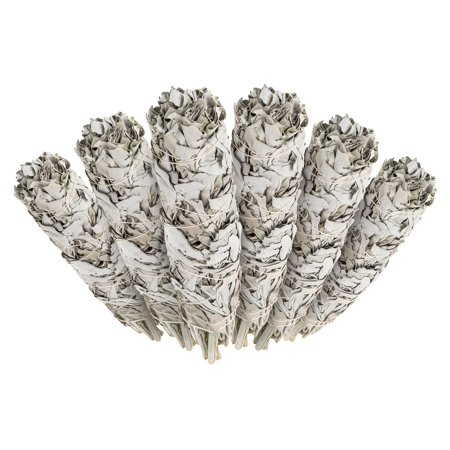 6 Pack - Premium California White Sage Smudge Sticks, Each Stick Approximately 4 Inches Long - Incense Garden Brand. Made in USA.