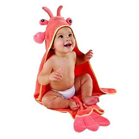 Baby Aspen, Lobster Laughs Lobster Hooded Towel, Red, 0-9