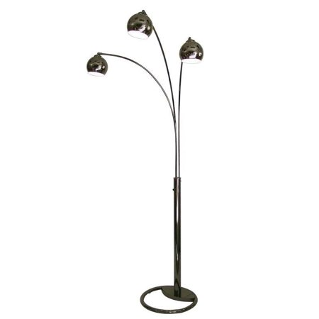 nova lighting triplet three light arc floor lamp in black nickel. Black Bedroom Furniture Sets. Home Design Ideas