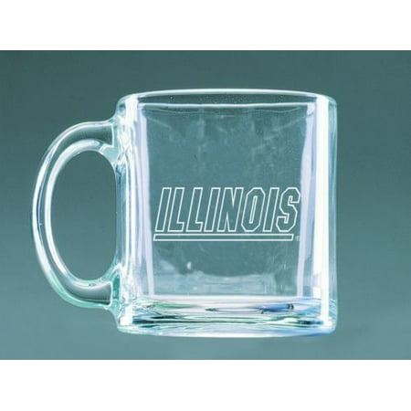 (Illinois Fighting Illini Deep Etched Clear Glass Mug)