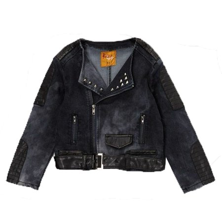 Rock'nStyle Little Girls Dark Blue Black Belt Studded Detail Denim