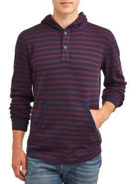 George Men's and Big Men's Long Sleeve Waffled Pique Fashion Henley Hoodie, Up To Size 5XL