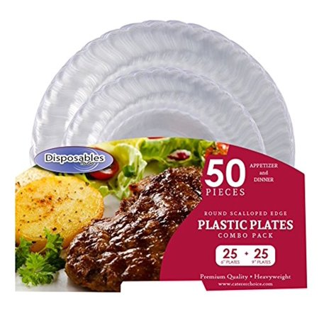 Premium Flair Design Crystal clear Heavy-weight Combo Clear Round Plastic Party Plates | 50 Count - 25 x 7
