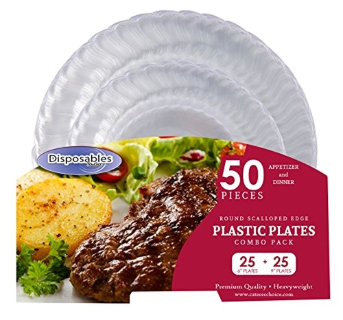 "Premium Flair Design Crystal clear Heavy-weight Combo Clear Round Plastic Party Plates | 50 Count - 25 x 7"" Plates 25 x 10"" Plates 