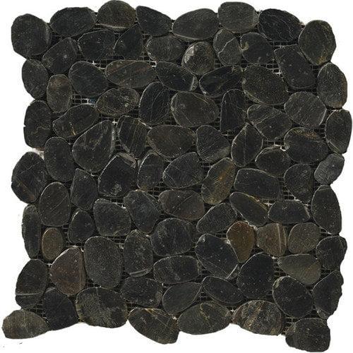 Emser Tile Natural Stone Random Sized Pebble Tile in Black