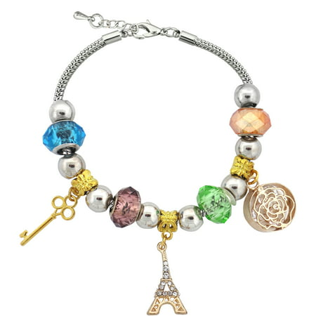 Bracelets With Beads (Silvertone Paris Eiffel Tower Charm and Glass Beads Bracelet with Extender,)