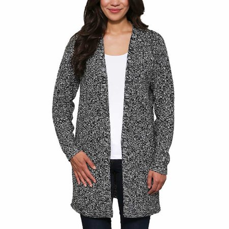 Leo & Nicole Womens Textured Weave Cardigan Sweater (Black/Dove Marl, Small) ()