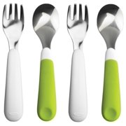 OXO Tot Fork and Spoon Set, Green, 2 Pack