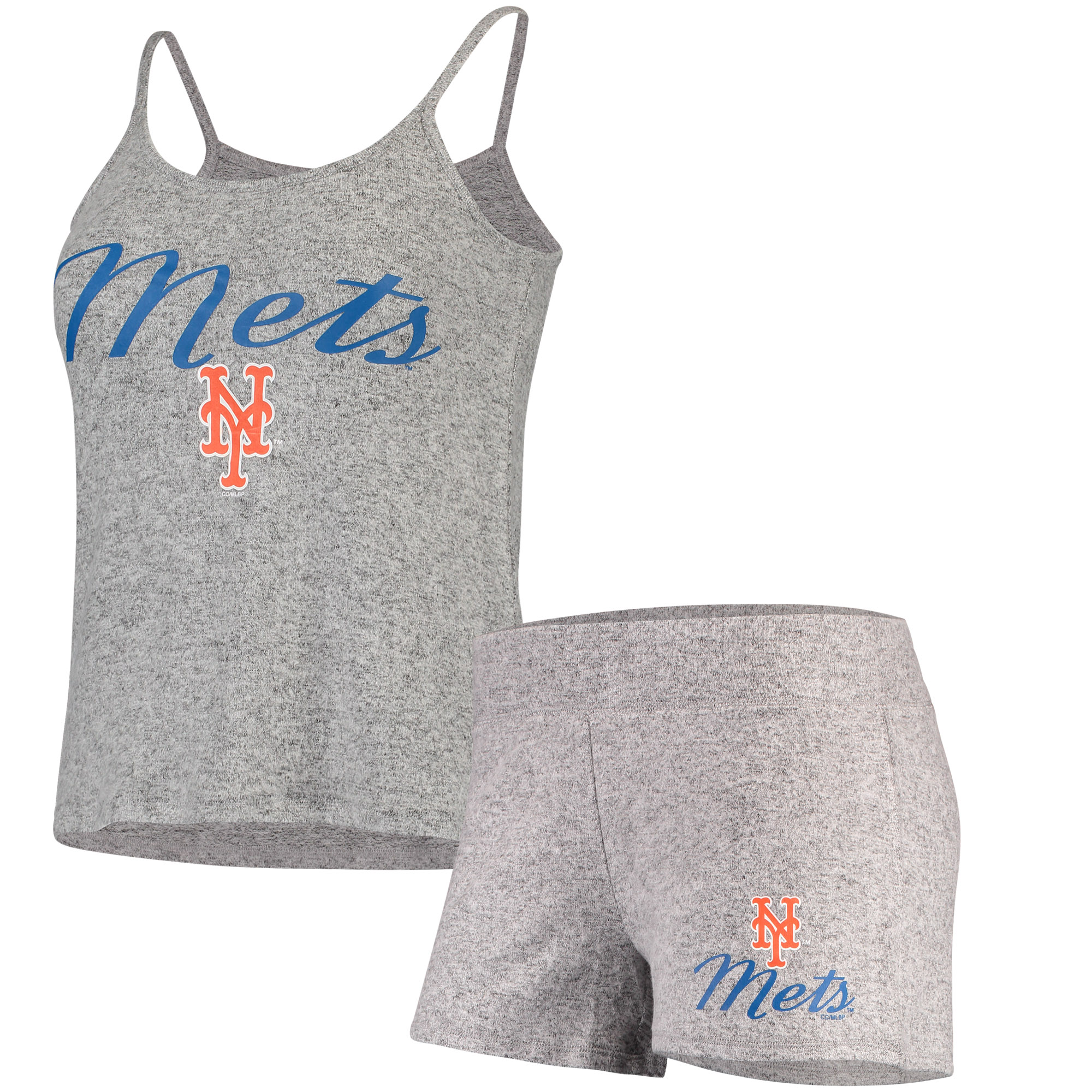 New York Mets Concepts Sport Women's Reprise Knit and Tank Shorts Set - Gray