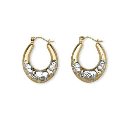 Elephant Hoop Earrings in Two-Tone 10k Gold -
