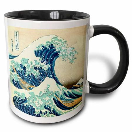 3dRose The Great Wave off Kanagawa by Japanese artist Hokusai - dramatic blue sea ocean Ukiyo-e print 1830 - Two Tone Black Mug, 11-ounce