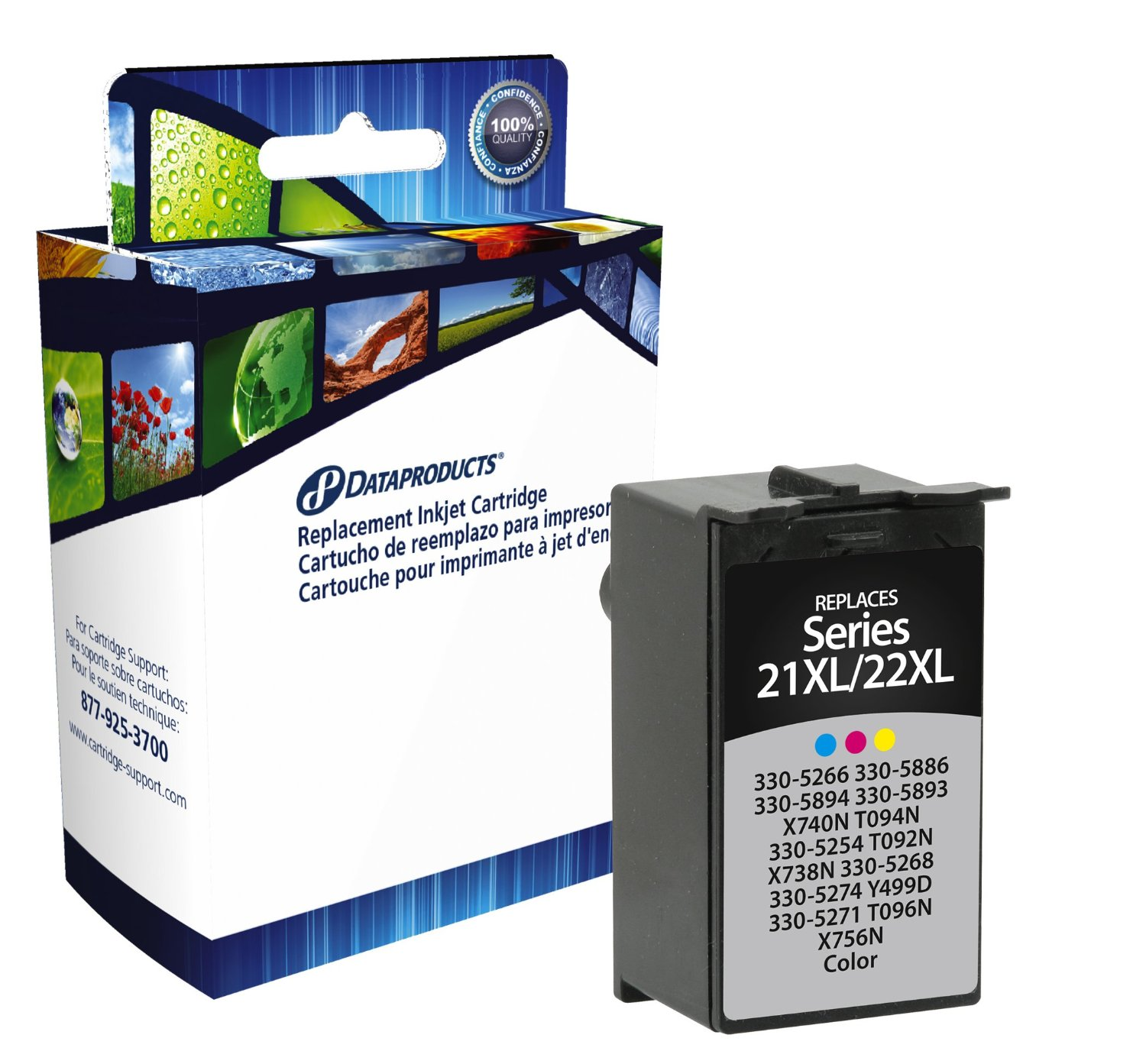 Dataproducts DPCD22CXLS High Yield Remanufactured Inkjet Cartridge Replacement for Dell 21XL/22XL (C