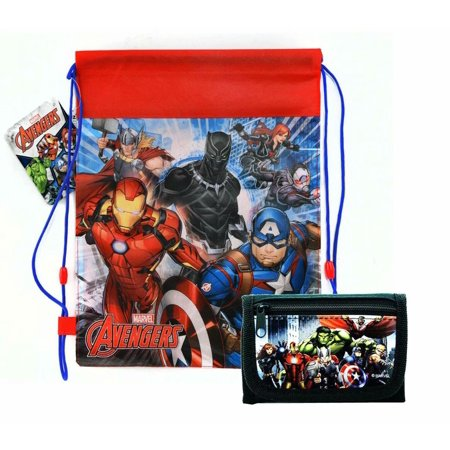 Sling Bag Tote Drawstring Non-Woven Avengers Blk Panther Widow Ant-Man w/Wallet
